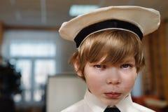 Sad caucasian little boy stock photo