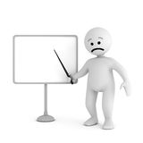 Sad character stay with blank board Stock Photos
