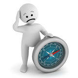 Sad character stay with compass Stock Photo