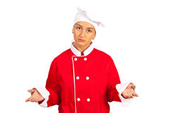Sad chef woman questioning Stock Images