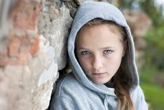 Sad child. Little sad child with hoody Royalty Free Stock Image