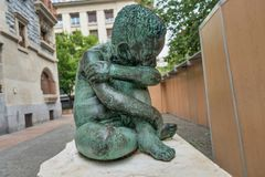 Sad Child bronze sculpture in the middle of Vitoria-Gasteiz, Spain. royalty free stock photos