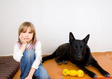 Sad child with dog Royalty Free Stock Image