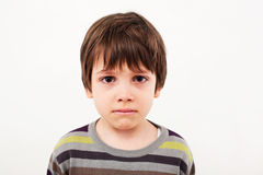 Sad child face. Portrait of a child with sad face crying Stock Image