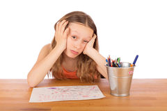 Sad child lack of ideas. Sad child sitting at a table lack of ideas. Isolated on a white background Royalty Free Stock Photos