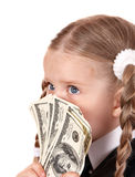Sad child with money dollar. Stock Images