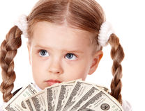 Sad child with money dollar. Stock Image