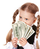Sad child with money dollar. Royalty Free Stock Photo