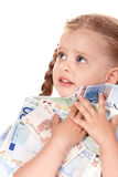 Sad child with money euro. Stock Photos