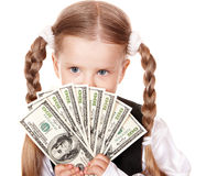 Sad child with money euro. Stock Image