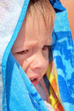 Sad Child outdoor. Sad Child Crying in the Bath Towel outdoor stock photo