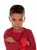 Sad child with red striped t-shirt stock images