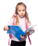 Sad child with schoolbag Royalty Free Stock Photography