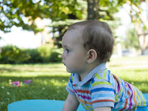 Sad child sitting on the green grass . Royalty Free Stock Photography