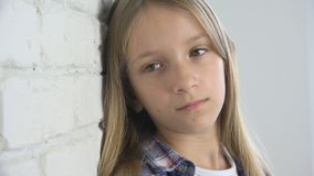 Sad Child, Unhappy Kid, Sick Ill Girl in Depression, Stressed Thoughtful Person stock images