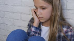 Sad Child, Unhappy Kid, Stressed Ill Girl in Depression, Sick Abused Person stock image