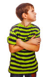 Sad child upset offended boy looking to the side Royalty Free Stock Images