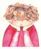 Sad child. Watercolor painting illustration Stock Photography