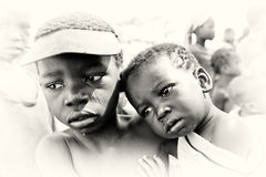 Sad children from Ghana. Two sad children from Ghana Royalty Free Stock Images