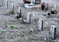 Sad children's graves in a cemetery. For children Stock Image