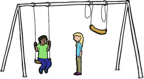 Sad Children at Swing Set Royalty Free Stock Images
