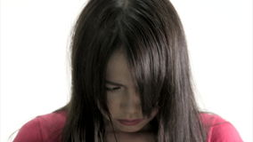 Sad Chinese Woman Frustrated and Upset. Close Up  in studio on white background stock footage