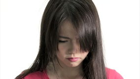 Sad Chinese Woman Frustrated and Upset, Side profile. Sad Chinese Woman Frustrated and Upset, Close Up  in studio on white background stock footage