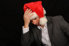 Sad Christmas Businessman Stock Images