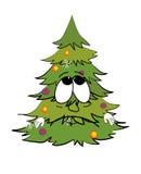 Sad christmas tree cartoon Stock Images