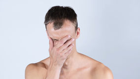 Sad, Close Up Of Man, Hand on Face. High quality Royalty Free Stock Images