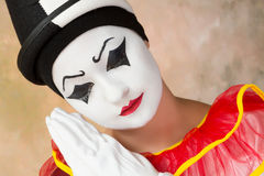 Sad clown. Sad or serious clown acting in pierrot disguise Stock Photography