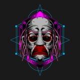 Sad clown face vector illustration