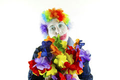 Sad Clown with Flowers, High Tone Stock Photography
