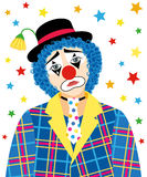 Sad Clown. Foreground of sad clown with a tear and withered flower in the hat stock illustration