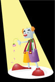 Sad Clown. Illustration of a sad clown onstage with a dying flower Royalty Free Stock Image