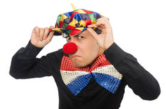 The sad clown isolated on the white Royalty Free Stock Images