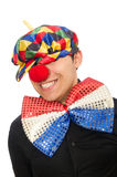 The sad clown isolated on the white Stock Images