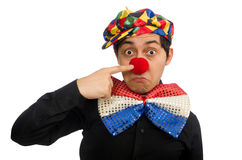 The sad clown isolated on the white Royalty Free Stock Photography