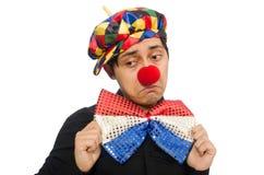 The sad clown isolated on the white Stock Photos