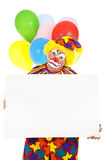 Sad Clown with Sign Royalty Free Stock Photos