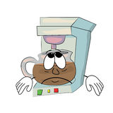 Sad Coffee maker cartoon Royalty Free Stock Images