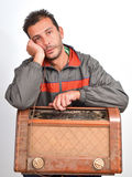 Sad collector of vintage radios Stock Photos