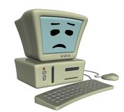 Sad computer. 3D isolated sad computer with keyboard and mouse maked in cartoon style Royalty Free Stock Photo