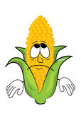 Sad corn cartoon Royalty Free Stock Photography