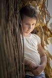 Sad countryside girl in corn Royalty Free Stock Photo
