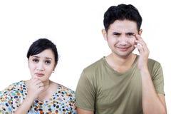 Sad couple expression - isolated Stock Image
