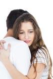 Sad couple hugging. On white background stock photo