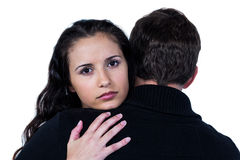 Sad couple hugging. On white screen Stock Image