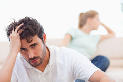 Sad couple mad at each other Stock Photos