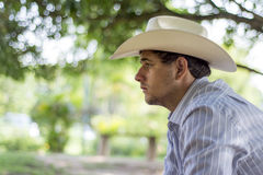 Sad cowboy. With a hat Stock Photography